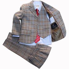 Kids Blazers jackets set for Boys Wedding dress Branded Plaid tuxedos for children Formal suit terno infanti Boys Blazers suits