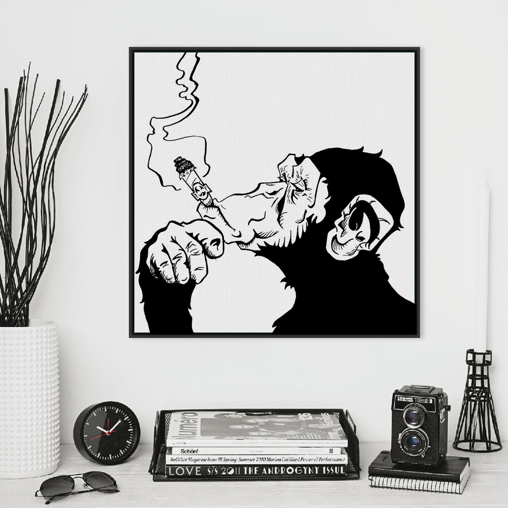 Fashion Black White Smoking Gorilla Animal A4 Art Prints Poster Personalized Wall Picture Canvas Painting No Frame Bar Home Deco(China (Mainland))