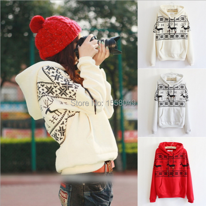 2014 Autumn winter deer printing hoody thick fleece winter gaps women hoodies high quality with casual pocket moletons feminino(China (Mainland))