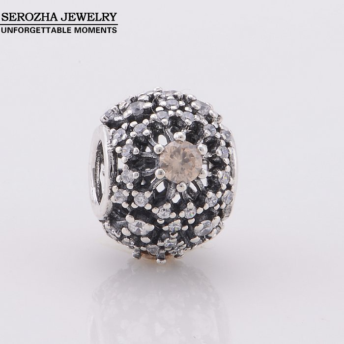 2014 Authentic 925 Sterling Silver Pave Zircon Beads Fit Pandora Bracelets Women DIY Openwork Crystal Charm Bead Jewelry Er358<br><br>Aliexpress
