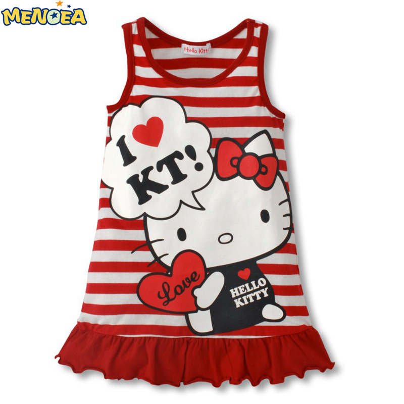 Baby Girls Cute Hello Kitty Dress 2016 Hot Selling Red Pink Kt Clothes Girls' Clothing One-Piece Dress Free Shipping(China (Mainland))