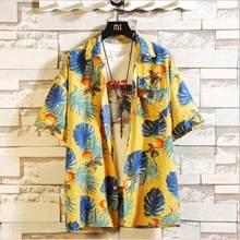プリントブランドの夏のホット販売メンズビーチシャツファッション半袖花ルーズカジュアルシャツプラスアジアサイズ M-4XL 5XL ハワイ(China)