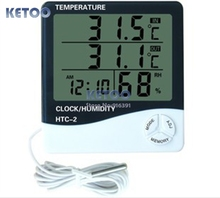 Digital LCD Temperature Thermometer Humidity Meter Clock + 1m external probe,household indoor and outdoor used  Free shipping