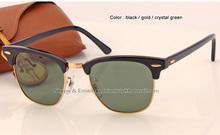 2016 fashion designer square sunglasses brand men women top quality Black Tortoise blue green flash sun glasses 49 51mm in box(China (Mainland))