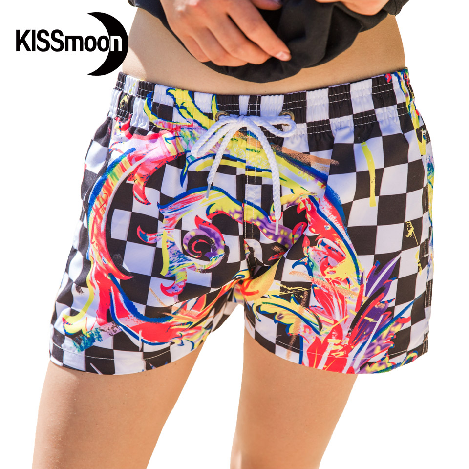 KISSyuer Quick drying Black and white font b Chequered b font flag Chinese Plaid Boardshort woman