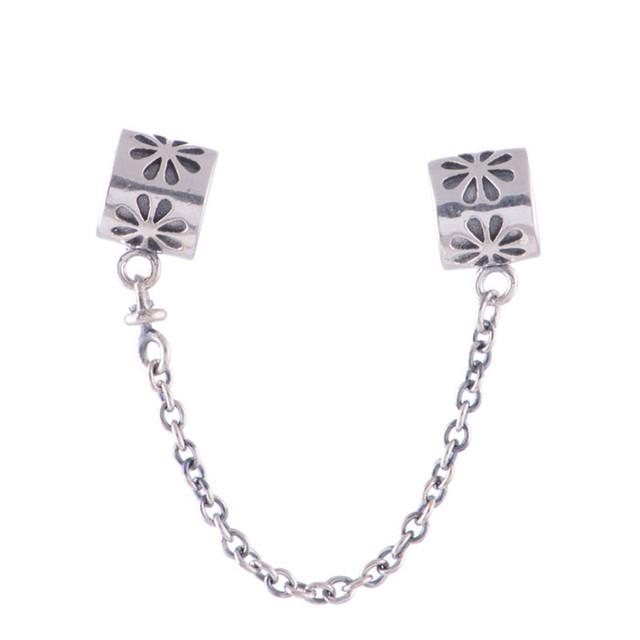 100% 925 серебряные украшения подсолнечника аварийное отключение подвески бусины с цепочкой DIY ювелирных нахождения приспосабливать пандора оригинальный браслет