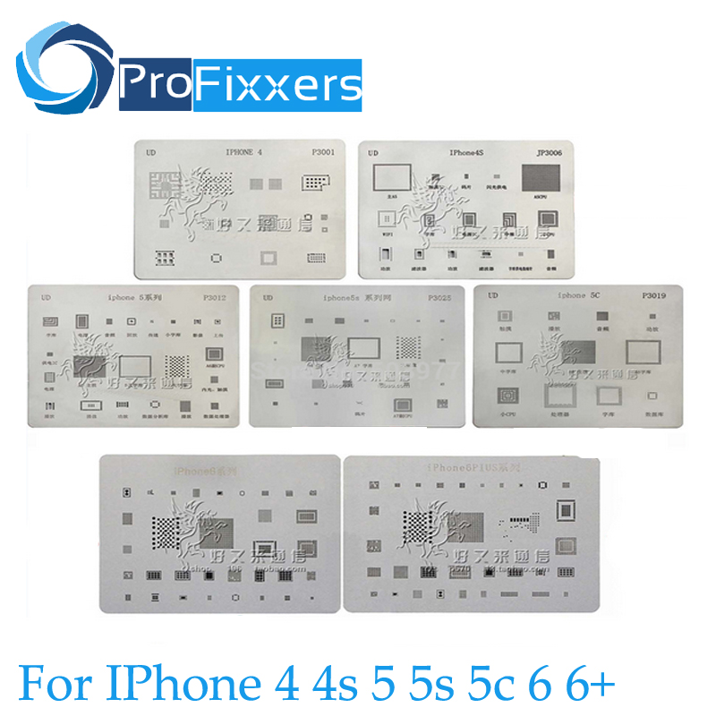 7pcs/lot ! high quality full set BGA Reballing Stencil dedicate kit for iPhone 4 4s 5 5s 5c 6 6+ ,Free Fast Shipping(China (Mainland))