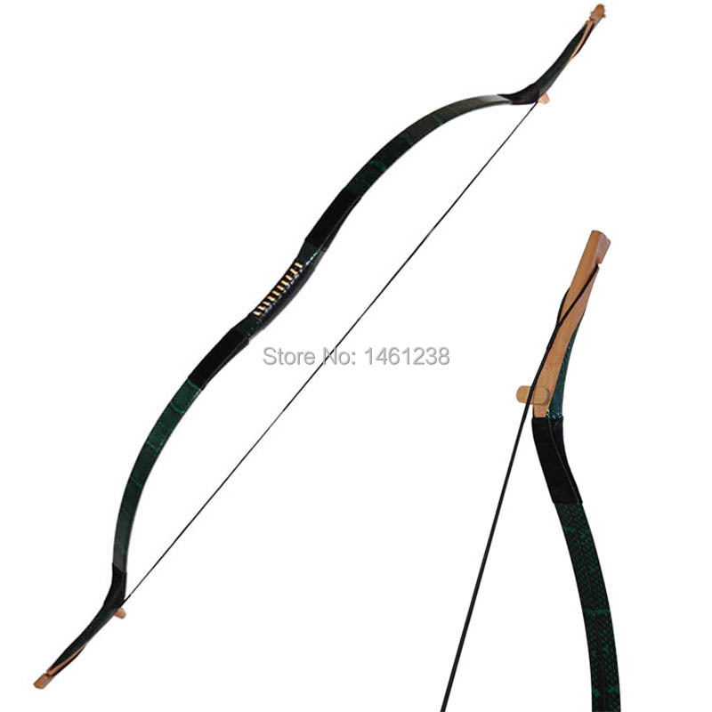 50lbs hunting bow Green Snakeskin archery recurve bow traditional handmade wooden bow and arrow shooting longbow