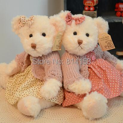 Free shipping 30CM lovely 2pcs couple teddy bear with cloth plush toy stuffed mini teddy bear girls birthday gift(China (Mainland))