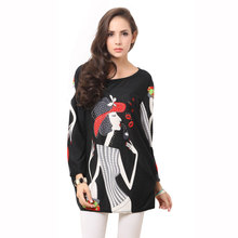 Novelty Fashion Girl Print Women Causal Long Sleeve Cashmere Autumn Winter Dress Plus Size Clothing(China (Mainland))