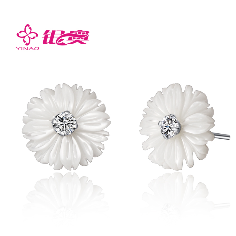 925 pure silver stud earring natural pearl shell inlaying diamond jewelry - Future idear store