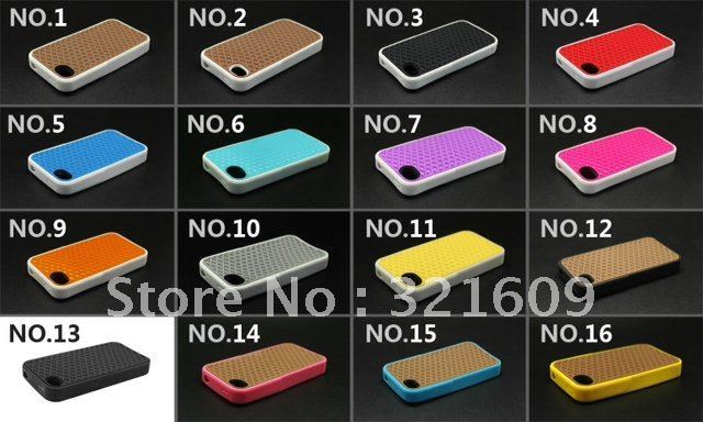 Free shipping (100pcs/lot) popular waffle case for iphone 4s 4g with packaging