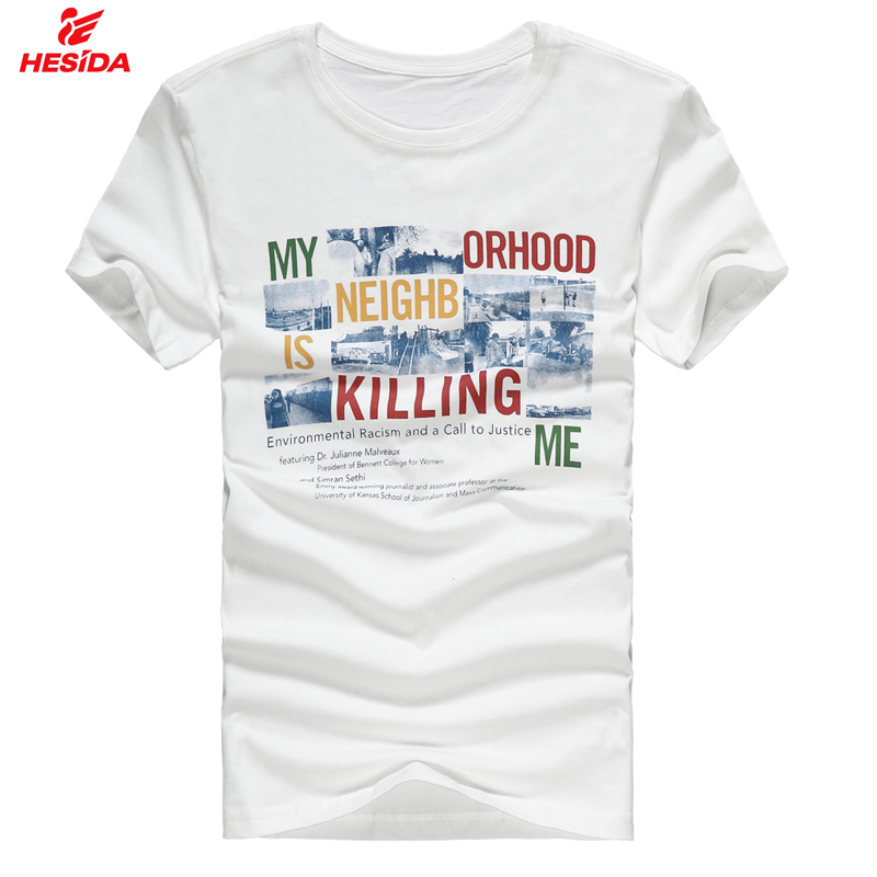Men printed t shirt full cotton short sleeve tee tops 2015 for High quality printed t shirts