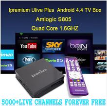 5000+ Global iptv channels lifetime Free Ipremium Amlogic S805 Android 4.4 TV Box Quad Core Kodi VOD Adult Channels Ulive Plus