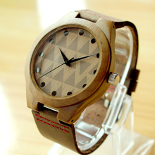 Men/Women Wristwatch Wooden Watch Quartz Movement Genuine Leather Strap with Original Gift Wooden Box