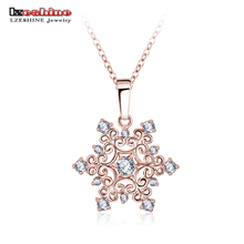 LZESHINE Snowflake Zirconia Pendant Rose Gold Plated Party Gift Wholesale Jewellery Women Necklace Gift Jewelry CNL0215-B(China (Mainland))