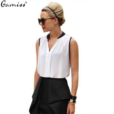White Black Green Pink Blue Chiffon Shirt V Neck S - XXXXL Plus Size Sleeveless Ladies Chiffon Blouse for Girls Women 135485101(China (Mainland))