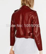 VogaIn NEW Spring 2016 Brand Women Mustard Short Faux Leather Motorcycle Cropped Biker jackets Hem belted Zips details Epaulets(China (Mainland))