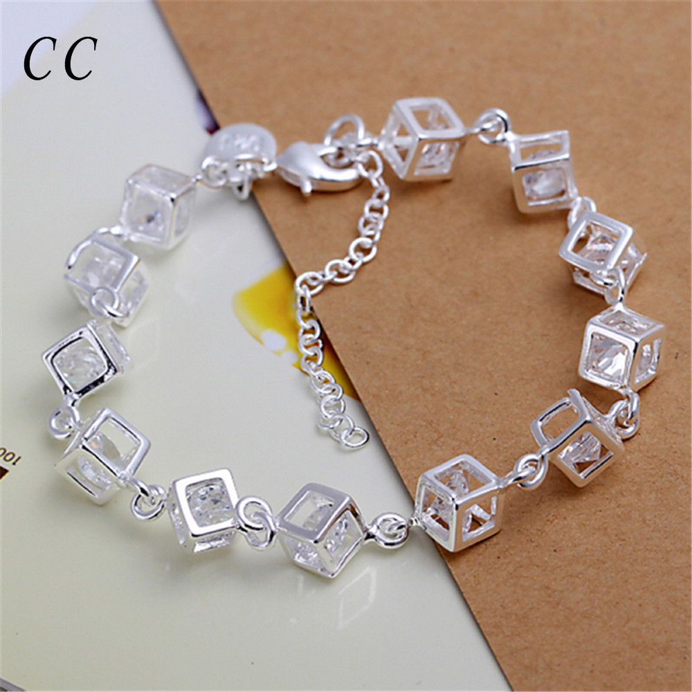 Cube silver plated bracelets for women white zirconia diamond charm femme jewelry bijoux shiny gift for lover couple CCNE0697(China (Mainland))