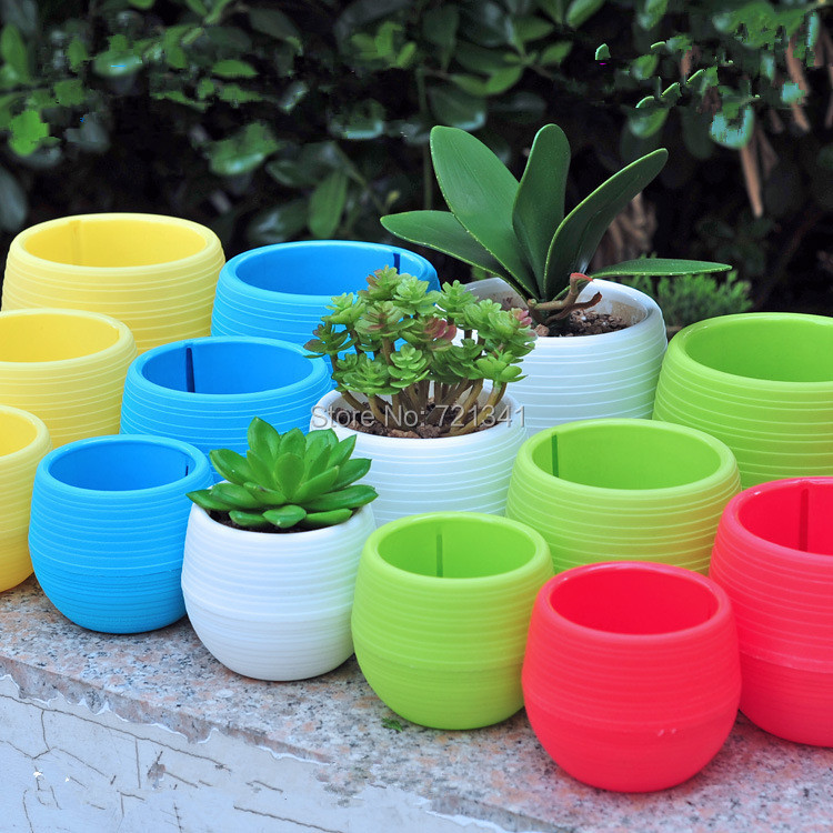 Short Description & 2019 Wholesale Colorful Plastic Plant Pots Water Storage Lazy Flower ...