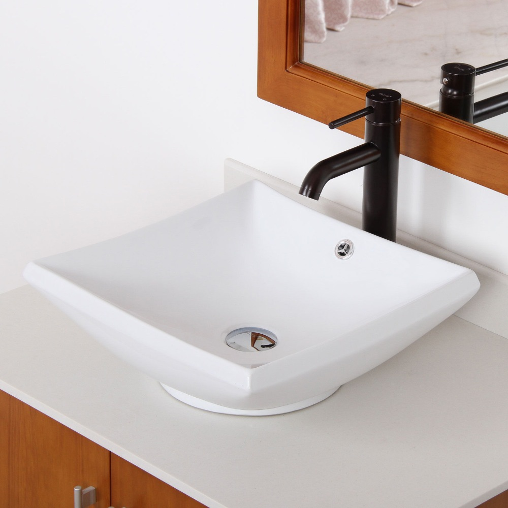 Bathroom Square Ceramic Porcelain Vessel Sink Oil Rubbed Bronze Faucet Combo Us Free Shipping