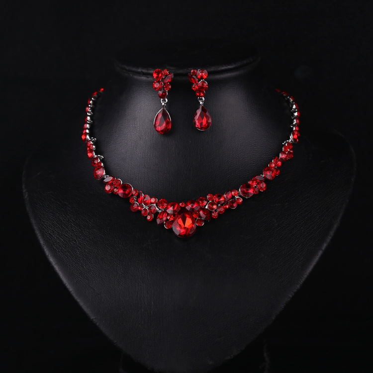 luxury bride red semi precious stone necklace earrings set