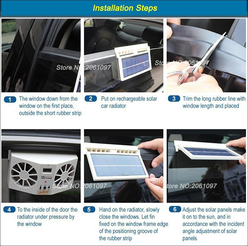 Car Fan Car Solar window Fan Portable Air Vent Cool Fan Cooler Ventilation System Radiator HIGH QUALITY Portable Free Shipping