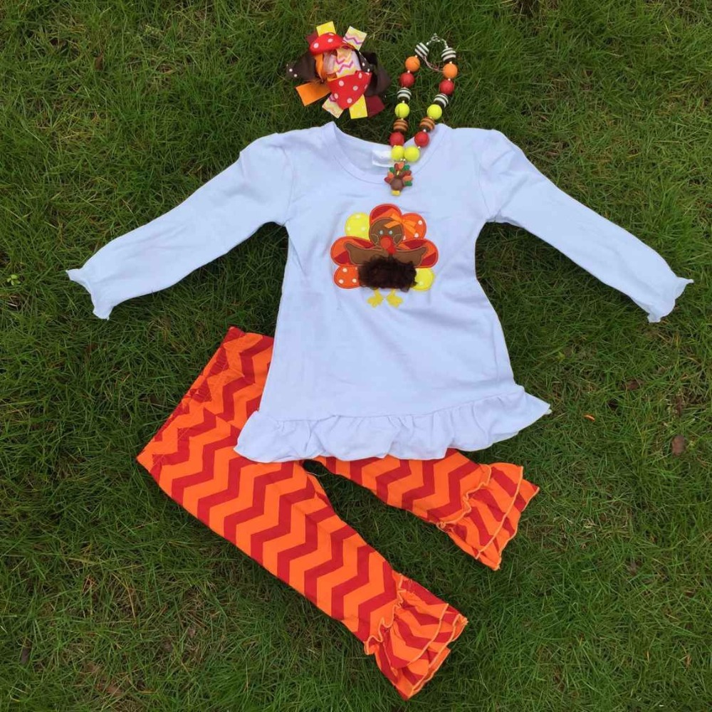 Thanksgiving day holiday outfits new girls design turkey top pant set with matching necklace and hair bow set(China (Mainland))