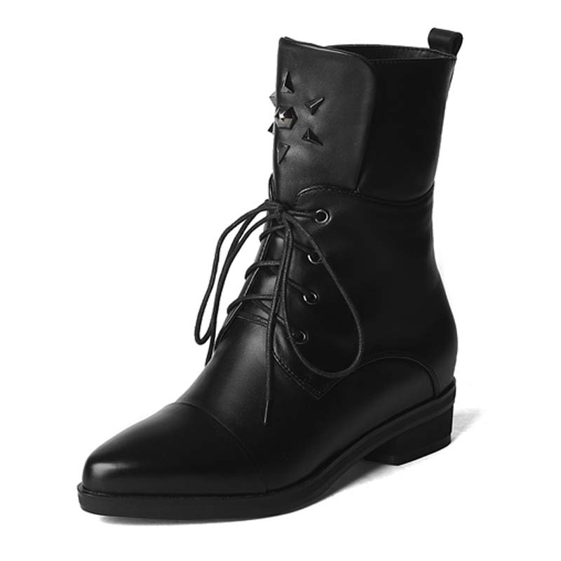 Фотография Rivets ShoesWomen Pointed Toe Low Fashion Ankle Boots ForWomen high quality Leather Boots Lace-Up Wintermotorcycle boots