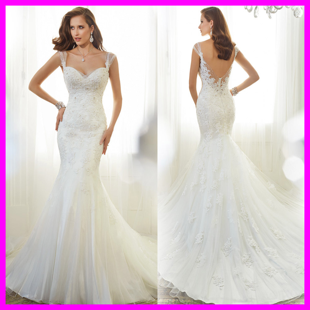 Famous design sweetheart cap sleeves beaded lace wedding for Beaded lace mermaid wedding dress