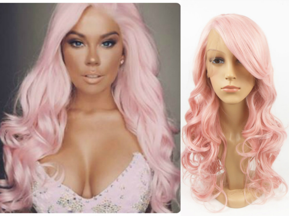 Custom Made Pastel light Baby Pink Long Wavy High Quality Heat Resistant Synthetic Lace Front Wig Women Fashion Wigs Curly Hair(China (Mainland))
