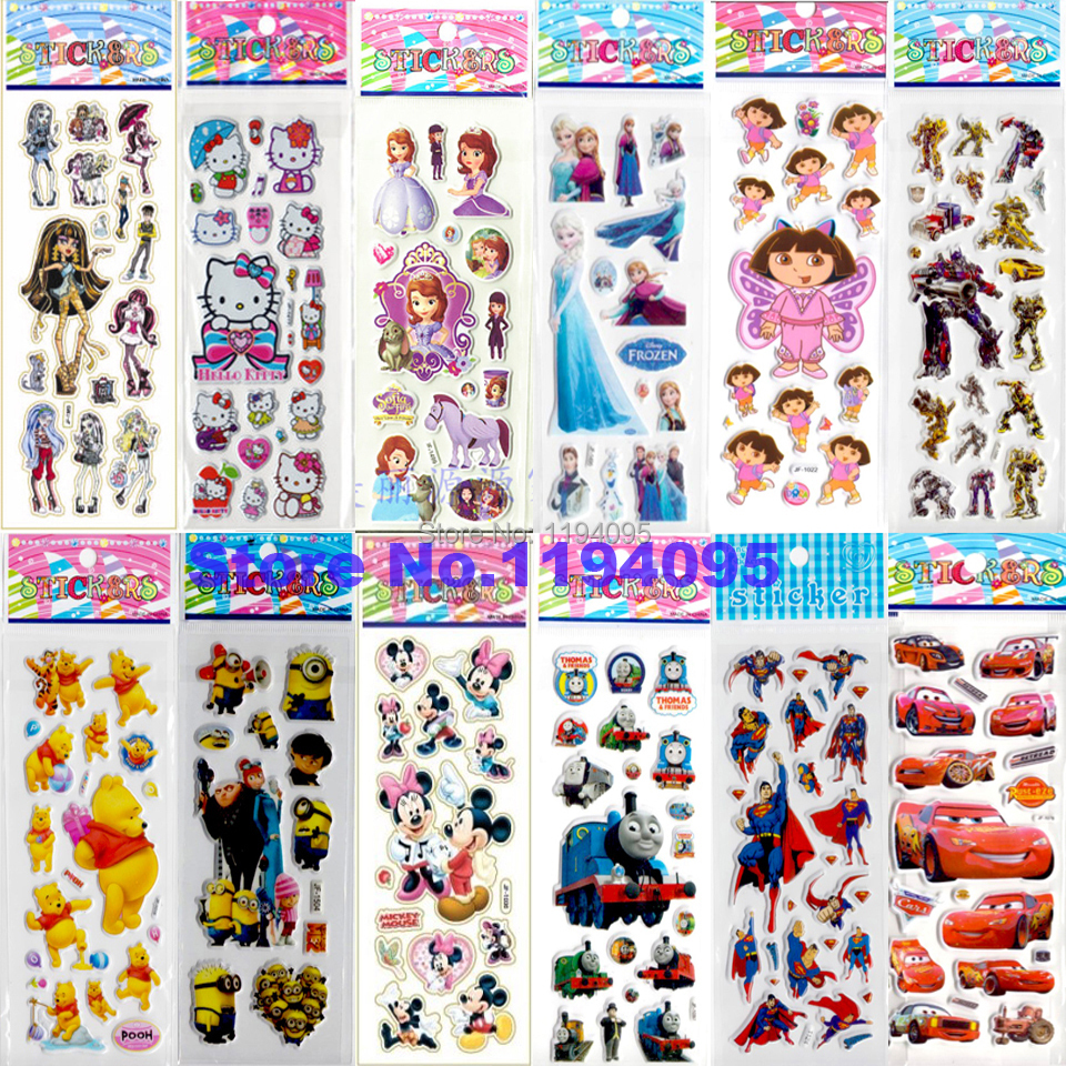 20pcs 3d Puffy kids cartoon sticker classic baby toy hello kitty pokemon minion car elsa princess thomas dora sofia spiderman(China (Mainland))