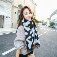 2016 fringed cashmere scarves Winter Fashion Women Euro Black white color dairy cattle cow tassels Long scarf(China (Mainland))