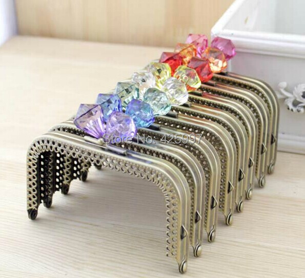 Freeshipping 10CM high foot Crystal diamond stone Candy bead Coins purse frame Square bronze Kiss Clasp Metal-opening Bags(China (Mainland))