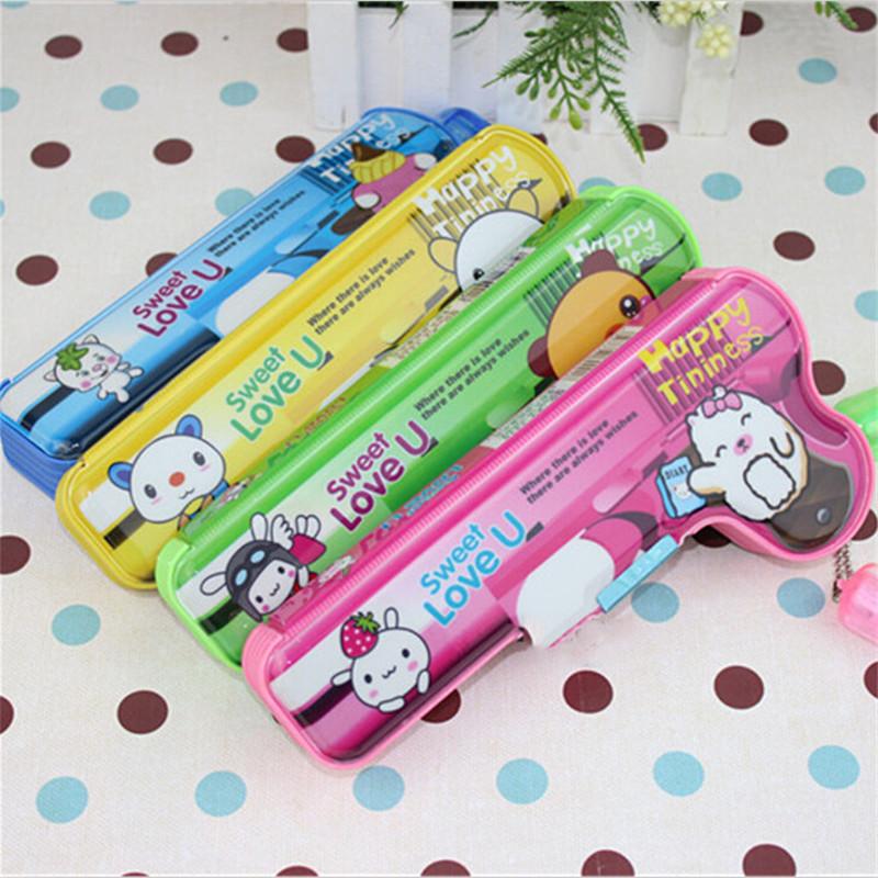 Sweet Creative Gun Pencil Case Cartoon Pu Leather Pen Bag Stationery Kawaii Estuches School Pencil Box Student Gift Cheap Sale(China (Mainland))