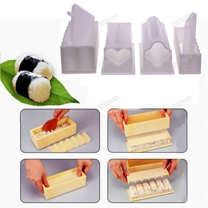 bestMart Unique 10Pcs Practical Home Kitchen Dinner Healthy Sushi Maker Kit Rice Mold Making Set Latest!(China (Mainland))