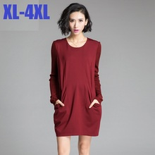 2015 New Solid color long sleeves autumn winter brief cocoon bud dress plus size loose slim elegant ladies office dress XXXXL