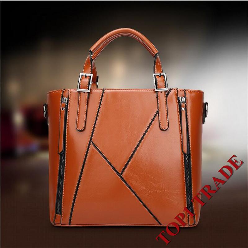 Fashion 2016 Waxy Genuine Leather Women Handbags Womens Crossbody Shoulder Messenger Bags Stella Tote Bag Borsa Sacoche Purses<br><br>Aliexpress