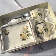 Supply Jingdezhen Ceramic Coffee Set 6 sets of bone china coffee cup and saucer spoon square yellow roses 4319