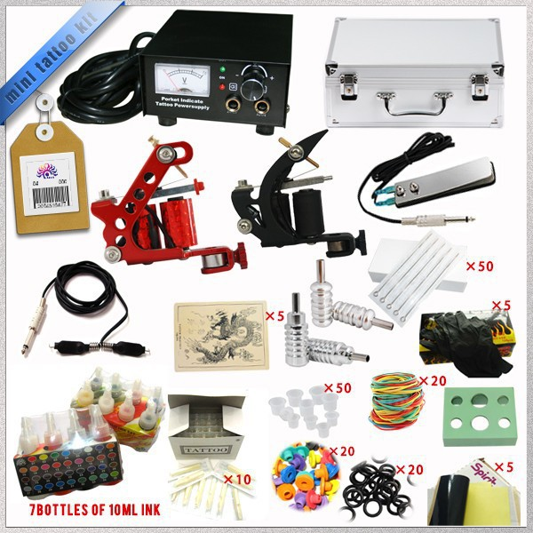 Wholesale Complete Tattoo Kit Mini Gun Rotary Machine Equipment sets +Ink +Power Supply +Needle + Case for Beginners Body Art #T(China (Mainland))