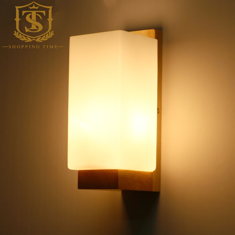 Wall Lamp Shades For Bedroom : lamp height Picture - More Detailed Picture about LED Modern Wood Wall Lamp Glass Shade Wall ...
