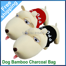 Free Shipping Car Accessories Decoration Purify Radiation Air Freshener Dog Shape with Bamboo Charcoal Bag 2PCS Per Lot(China (Mainland))