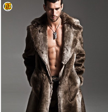 2013winter fashion brand large turn-down collar men faux mink fur coat mink overcoat male long fur outerwear free shipping D2131(China (Mainland))