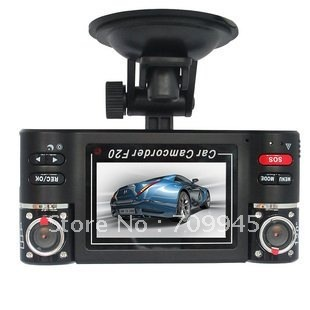 NEW F20 Dual Camera 720P Two Channels Car Video Audio Recorder DVR Motion Detect