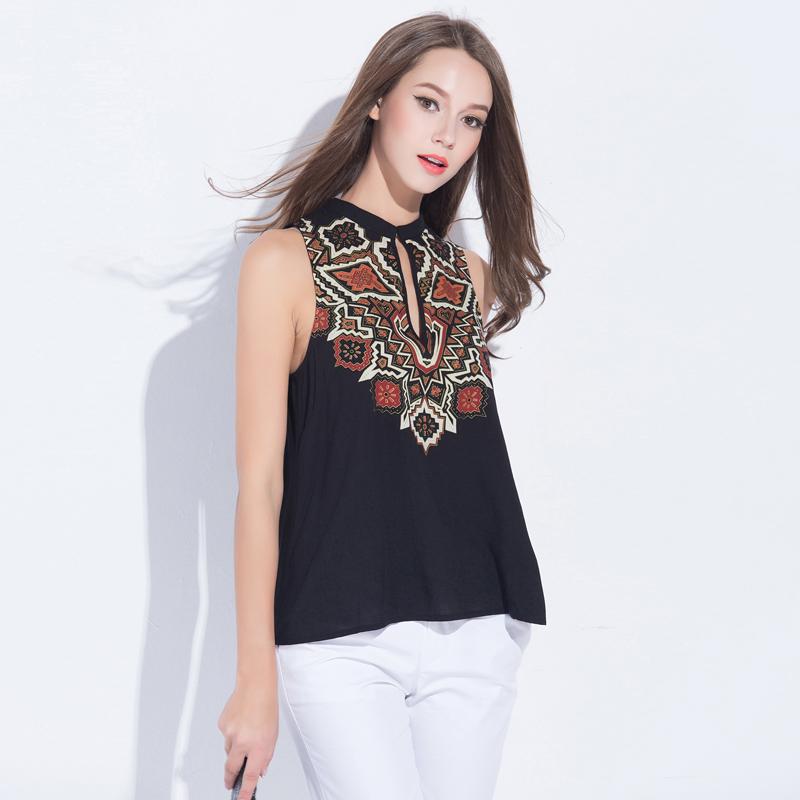 2016 New Fashion Tank Tops Women Sleeveless Shirts Vintage Print Shirt Women Tank Tops Women Short Cotton Shirt Blusa LBADGL313Одежда и ак�е��уары<br><br><br>Aliexpress