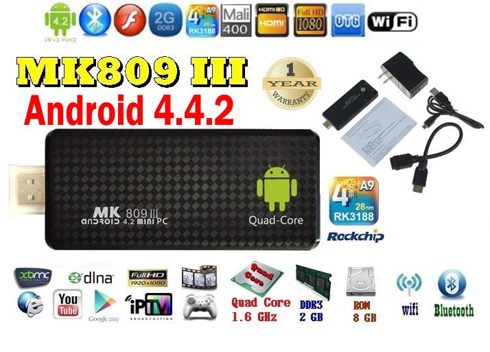 Android 4.4.2 mini PC Quad core RK3188T Google android tv stick MK809III 2GB RAM 8GB ROM Bluetooth Wifi HDMI MK809 III,XBMC(China (Mainland))