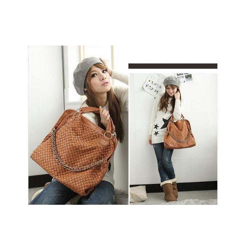 2016 Fashion PU Leather Weaving Korean style Lady Hobo Shoulder Handbag Bag Popular Shoulder Messenger Bags Wholesale(China (Mainland))