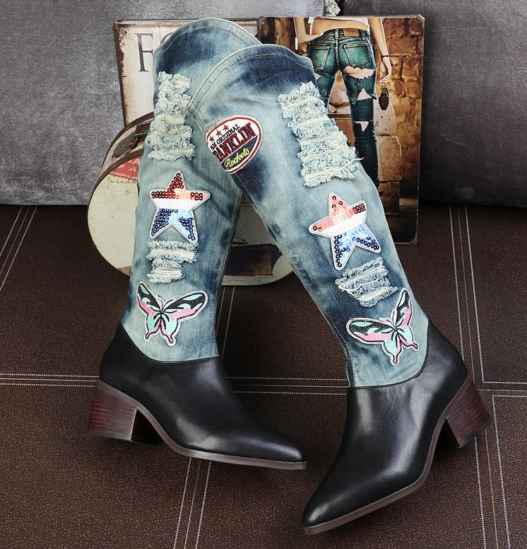 2016 new winter high boots leather high-heeled boots canvas denim Martin boots non-slip blue denim heels bottes femmes boty