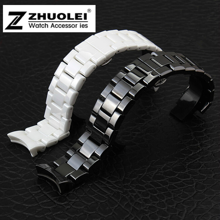 1pcs High Quality Watch Band White/Black Ceramic White Watchband Diamond Watch General 18mm 20mm 22mm Size Available <br><br>Aliexpress