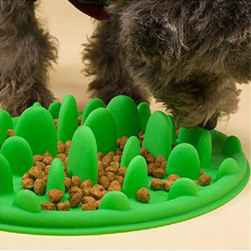 2016 New Silicone Pet Bowl 3 Colors Optional Anti-choking Dog Puzzle Slow Food Bowl Free Shipping(China (Mainland))